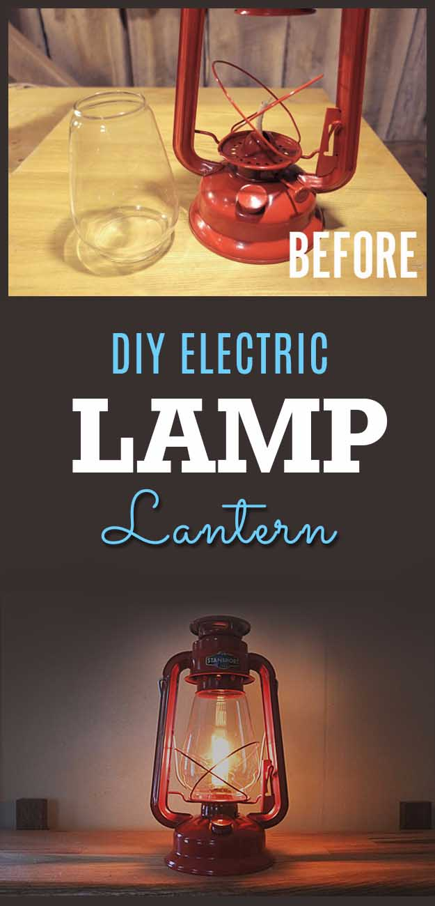 Awesome Crafts for Men and Manly DIY Project Ideas Guys Love - Fun Gifts, Manly Decor, Games and Gear. Tutorials for Creative Projects to Make This Weekend | DIY Electric Camp Lantern #diy #craftsformen #guys #giftsformen