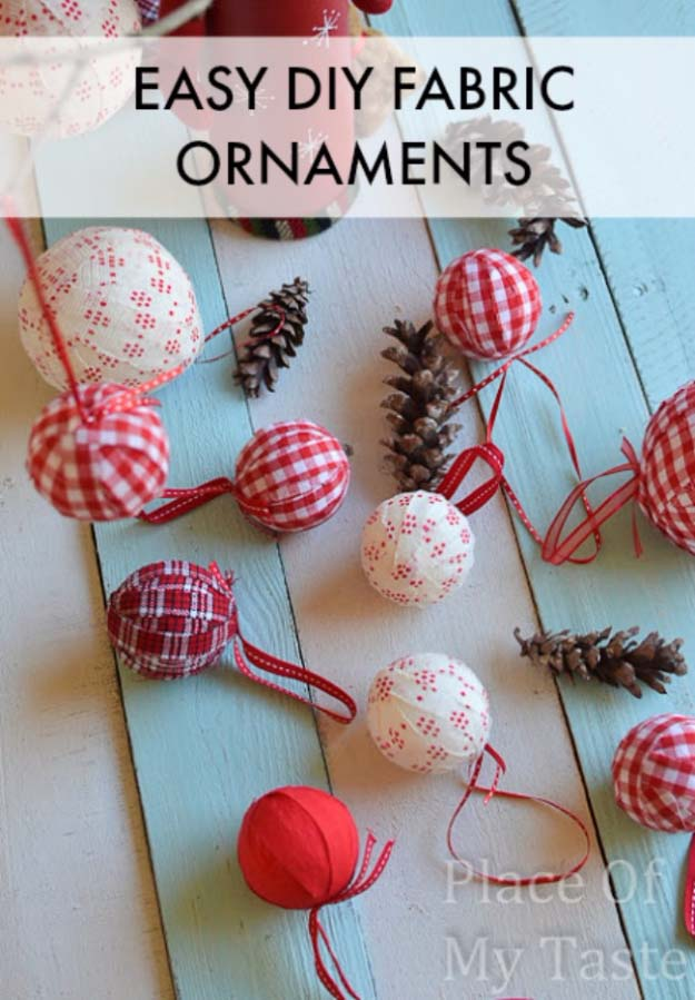 Awesome DIY Christmas Home Decorations and Homemade Holiday Decor Ideas - Quick and Easy Decorating ideas, cool ornaments, home decor crafts and fun Christmas stuff | Crafts and DIY projects by DIY Joy | DIY Fabric Ornaments #diy #crafts #christmas