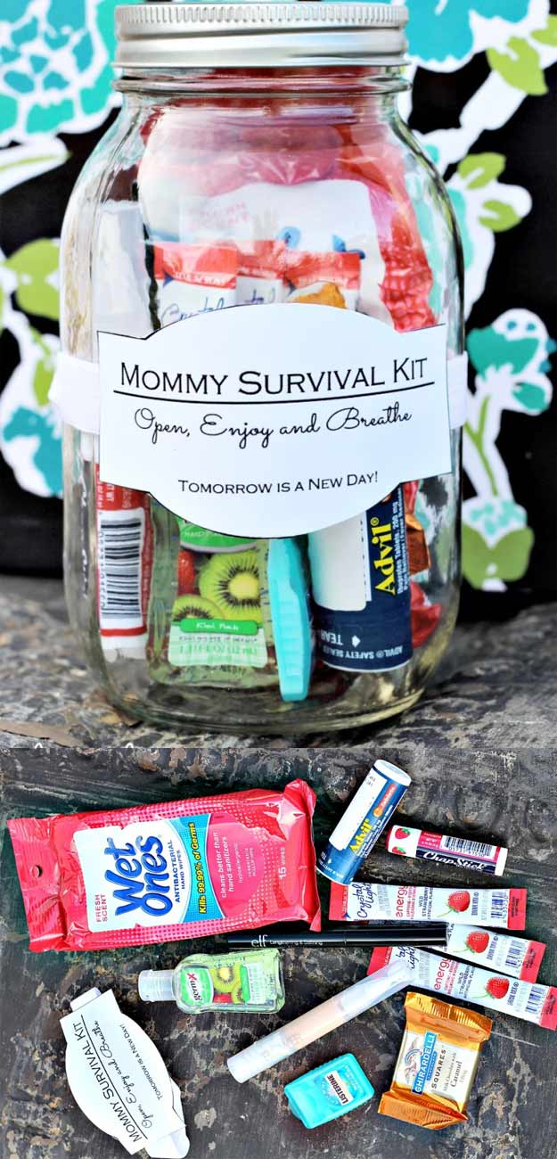 Homemade DIY Gifts in A Jar | Best Mason Jar Cookie Mixes and Recipes, Alcohol Mixers | Fun Gift Ideas for Men, Women, Teens, Kids, Teacher, Mom. Christmas, Holiday, Birthday and Easy Last Minute Gifts | DIY Gift in a Jar Mommy Survival Kit #diy