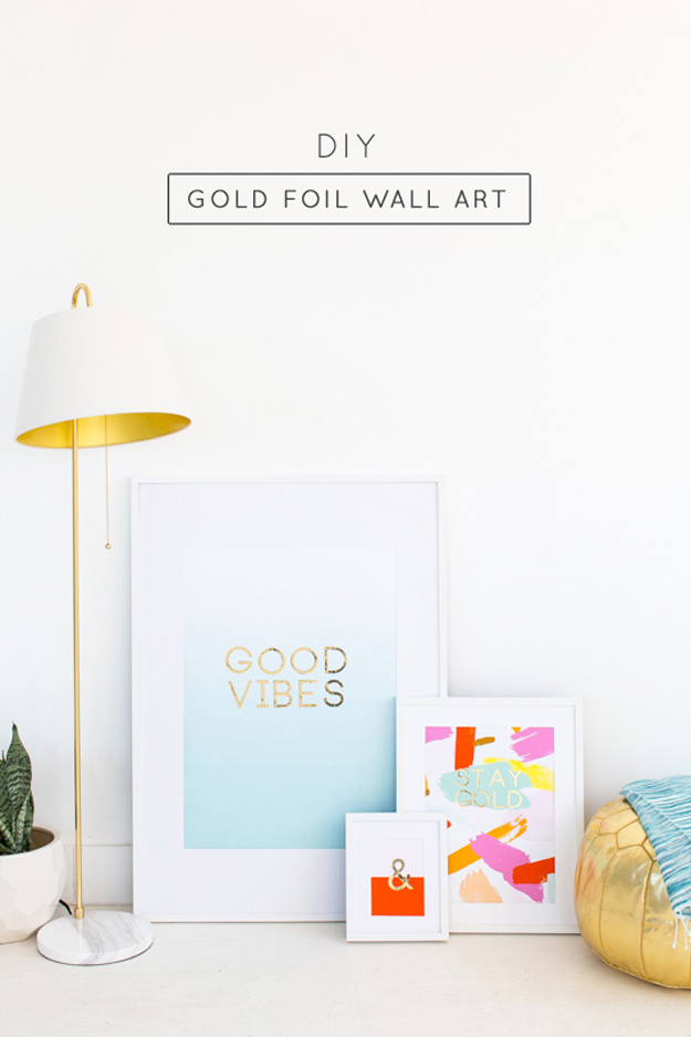 DIY Gifts for Your Parents | Cool and Easy Homemade Gift Ideas That Mom and Dad Will Love | Creative Christmas Gifts for Parents With Step by Step Instructions | Crafts and DIY Projects by DIY JOY | DIY-Gold-Foil-Wall-Art #diy #diygifts #christmasgifts