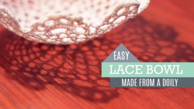 DIY Crafts You Can Make with Lace | Cool DIY Ideas for Fashion, Decor, Gifts, Jewelry and Home Accessories Made With Lace | DIY Lace Bowl | http://diyjoy.com/diy-crafts-ideas-with-lace