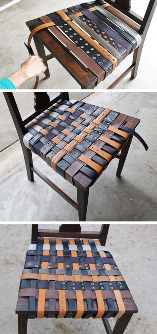 Awesome Crafts for Men and Manly DIY Project Ideas Guys Love - Fun Gifts, Manly Decor, Games and Gear. Tutorials for Creative Projects to Make This Weekend | DIY Leather Belt Chair #diy #craftsformen #guys #giftsformen