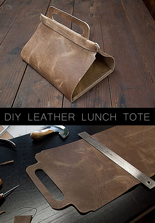 Awesome Crafts for Men and Manly DIY Project Ideas Guys Love - Fun Gifts, Manly Decor, Games and Gear. Tutorials for Creative Projects to Make This Weekend | DIY Leather Lunch Tote #diy #craftsformen #guys #giftsformen