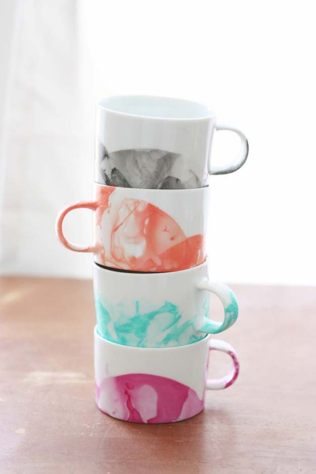 76 Crafts To Make and Sell - Easy DIY Ideas for Cheap Things To Sell on Etsy, Online and for Craft Fairs. Make Money with These Homemade Crafts for Teens, Kids, Christmas, Summer, Mother's Day Gifts. | DIY Marbled Mugs with Nail Polish #crafts #diy