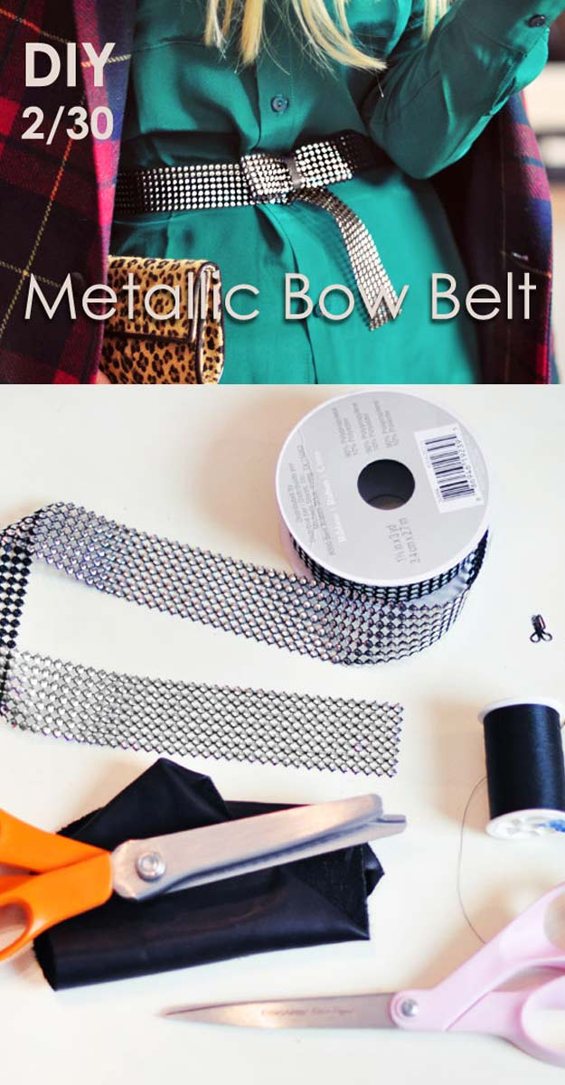 DIY Gifts for Your Girlfriend and Cool Homemade Gift Ideas for Her | Easy Creative DIY Projects and Tutorials for Christmas, Birthday and Anniversary Gifts for Mom, Sister, Aunt, Teacher or Friends |DIY Metallic Studded Bow Belt #diygifts #diyideas