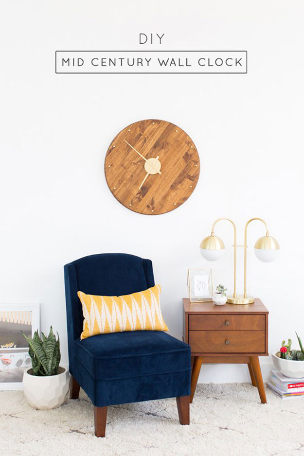 DIY Gifts for Your Parents | Cool and Easy Homemade Gift Ideas That Mom and Dad Will Love | Creative Christmas Gifts for Parents With Step by Step Instructions | Crafts and DIY Projects by DIY JOY | DIY-Mid-Century-Wall-Clock | http://diyjoy.com/diy-gifts-for-mom-dad-parents