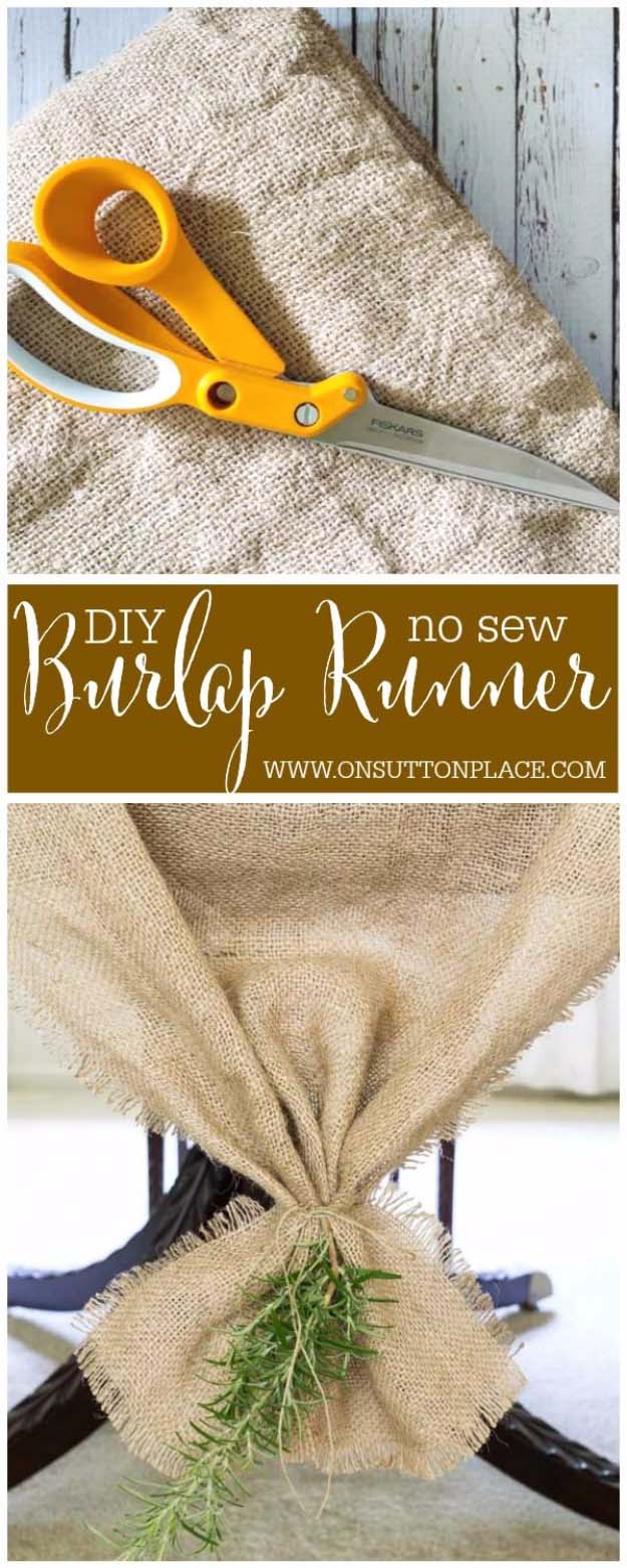 DIY Projects with Burlap and Creative Burlap Crafts for Home Decor, Gifts and More | DIY No Sew Burlap Table Runner