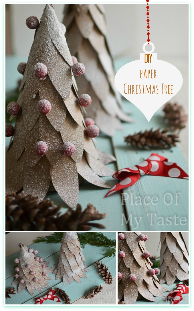Awesome DIY Christmas Home Decorations and Homemade Holiday Decor Ideas - Quick and Easy Decorating ideas, cool ornaments, home decor crafts and fun Christmas stuff | Crafts and DIY projects by DIY Joy | DIY Paper Christmas Tree #diy #crafts #christmas