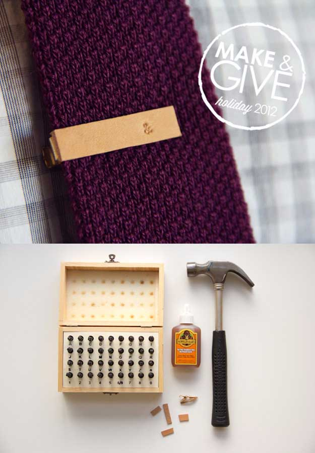 Awesome Crafts for Men and Manly DIY Project Ideas Guys Love - Fun Gifts, Manly Decor, Games and Gear. Tutorials for Creative Projects to Make This Weekend | DIY Stamped Leather Tie Clip #diy #craftsformen #guys #giftsformen