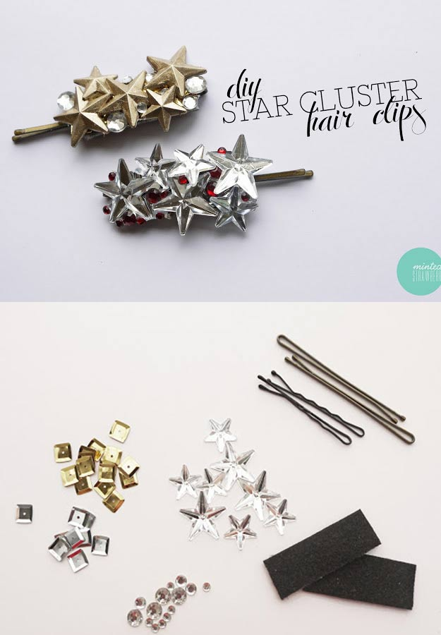 DIY Gifts for Your Girlfriend and Cool Homemade Gift Ideas for Her | Easy Creative DIY Projects and Tutorials for Christmas, Birthday and Anniversary Gifts for Mom, Sister, Aunt, Teacher or Friends |DIY Star Cluster Hair clip DIY Hair Accessory #diygifts #diyideas