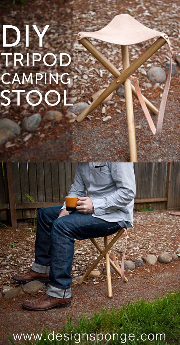 Awesome Crafts for Men and Manly DIY Project Ideas Guys Love - Fun Gifts, Manly Decor, Games and Gear. Tutorials for Creative Projects to Make This Weekend   DIY Tripod Camping Stool   http://diyjoy.com/diy-projects-for-men-crafts