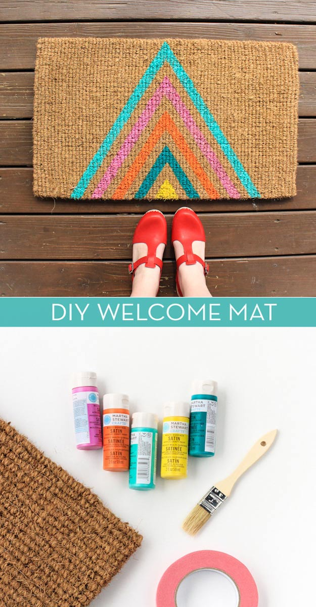 DIY Wedding Gift Ideas for the Home- DIY Welcome Mat - Easy and Budget Friendly Homemade Gift Ideas for Bride and Groom - Cheap Presents You Can Make for the Couple- for the Home, From The Kids, Personalized Ideas for Parents and Bridesmaids #diywedding #weddinggifts #diygifts