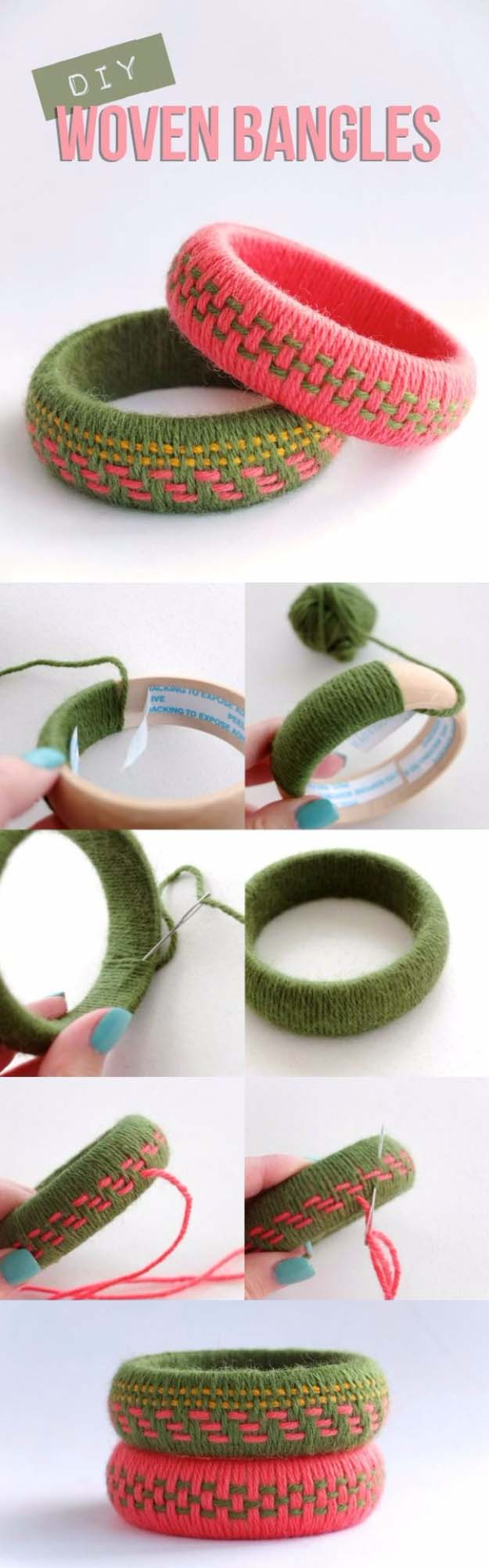 DIY Gifts for Your Girlfriend and Cool Homemade Gift Ideas for Her | Easy Creative DIY Projects and Tutorials for Christmas, Birthday and Anniversary Gifts for Mom, Sister, Aunt, Teacher or Friends | DIY Woven Yarn Bangles for Unique Homemade Present #diygifts #diyideas