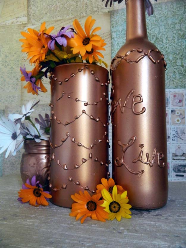 Fun Crafts To Do With A Hot Glue Gun | Best Hot Glue Gun Crafts, DIY Projects and Arts and Crafts Ideas Using Glue Gun Sticks | Decorate Vase and Bottles with a Glue Gun | http://diyjoy.com/hot-glue-gun-crafts-ideas