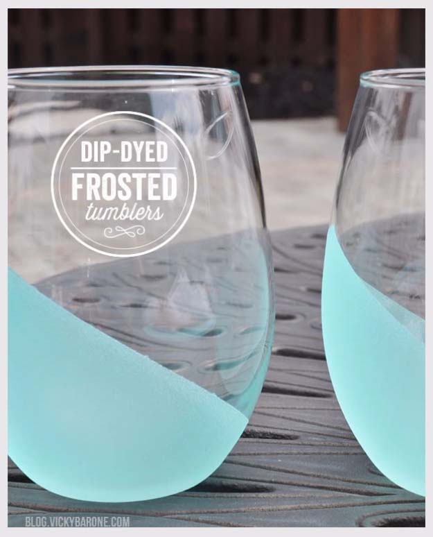 DIY Gifts for Your Girlfriend and Cool Homemade Gift Ideas for Her | Easy Creative DIY Projects and Tutorials for Christmas, Birthday and Anniversary Gifts for Mom, Sister, Aunt, Teacher or Friends | Dip Dyed Frosted Tumblers for Unique Homemade Present and Creative Home Decor Idea #diygifts #diyideas
