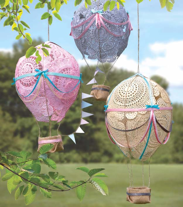 DIY Crafts You Can Make with Lace | Cool DIY Ideas for Fashion, Decor, Gifts, Jewelry and Home Accessories Made With Lace | Doily Hot Air Balloons | http://diyjoy.com/diy-crafts-ideas-with-lace