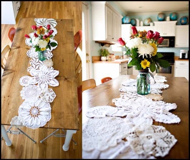 DIY Crafts You Can Make with Lace | Cool DIY Ideas for Fashion, Decor, Gifts, Jewelry and Home Accessories Made With Lace | Doily Table Runner | http://diyjoy.com/diy-crafts-ideas-with-lace