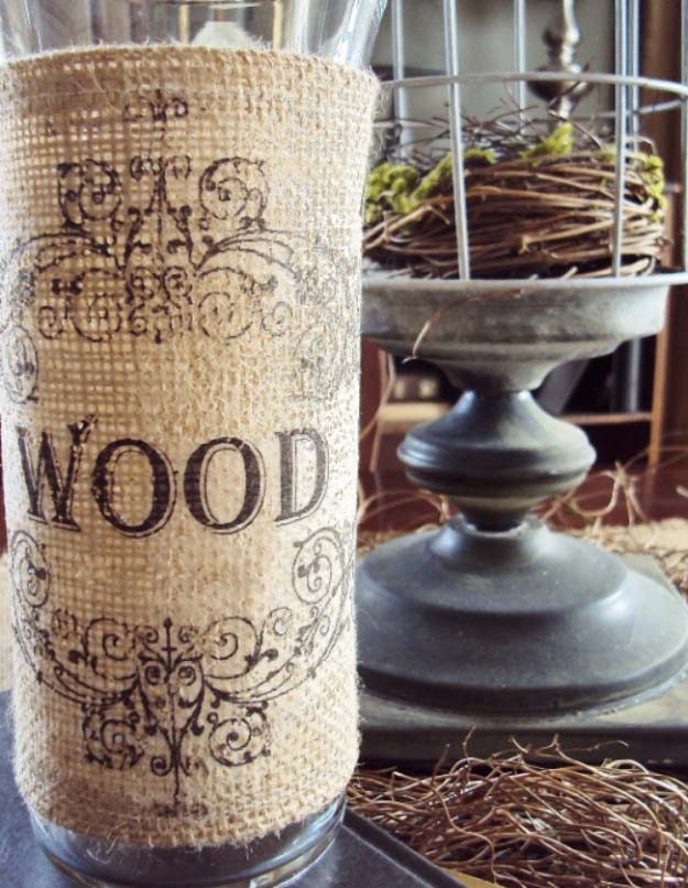 DIY Projects with Burlap and Creative Burlap Crafts for Home Decor, Gifts and More | Easy Burlap Vase Project