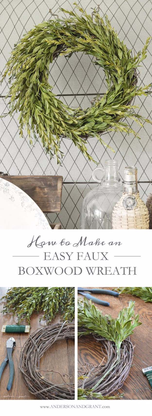 DIY Holiday Wreaths Make Awesome Homemade Christmas Decorations for Your Front Door   Cool Crafts and DIY Projects by DIY JOY   Easy Faux Boxwood Wreath #diy