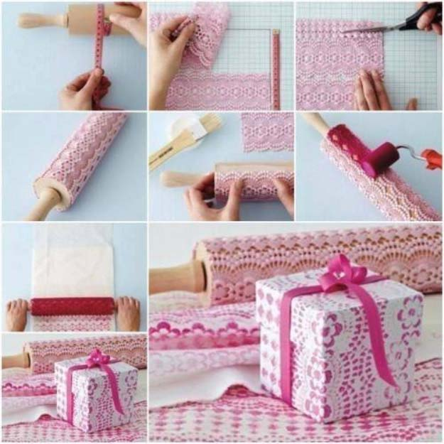 DIY Crafts You Can Make with Lace | Cool DIY Ideas for Fashion, Decor, Gifts, Jewelry and Home Accessories Made With Lace | Easy Self-Print Lace Pattern Gift Wrap | http://diyjoy.com/diy-crafts-ideas-with-lace