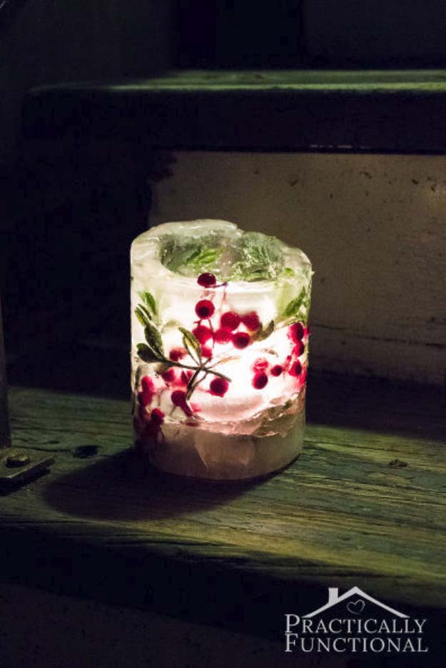 Awesome DIY Christmas Home Decorations and Homemade Holiday Decor Ideas - Quick and Easy Decorating ideas, cool ornaments, home decor crafts and fun Christmas stuff | Crafts and DIY projects by DIY Joy | Easy and Cheap Ice Lantern Holiday Luminaries #diy #crafts #christmas