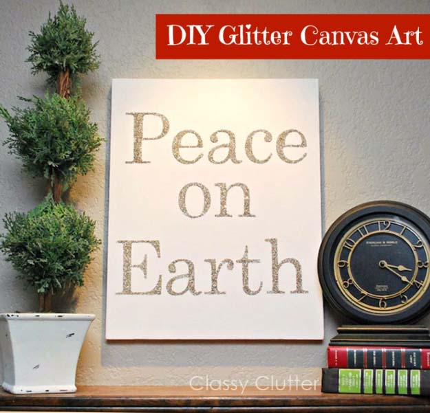 Awesome DIY Christmas Home Decorations and Homemade Holiday Decor Ideas - Quick and Easy Decorating ideas, cool ornaments, home decor crafts and fun Christmas stuff  | Crafts and DIY projects by DIY Joy  |  Easy and Fast Glitter Canvas Art  |  http://diyjoy.com/diy-christmas-decor-holiday-decorations