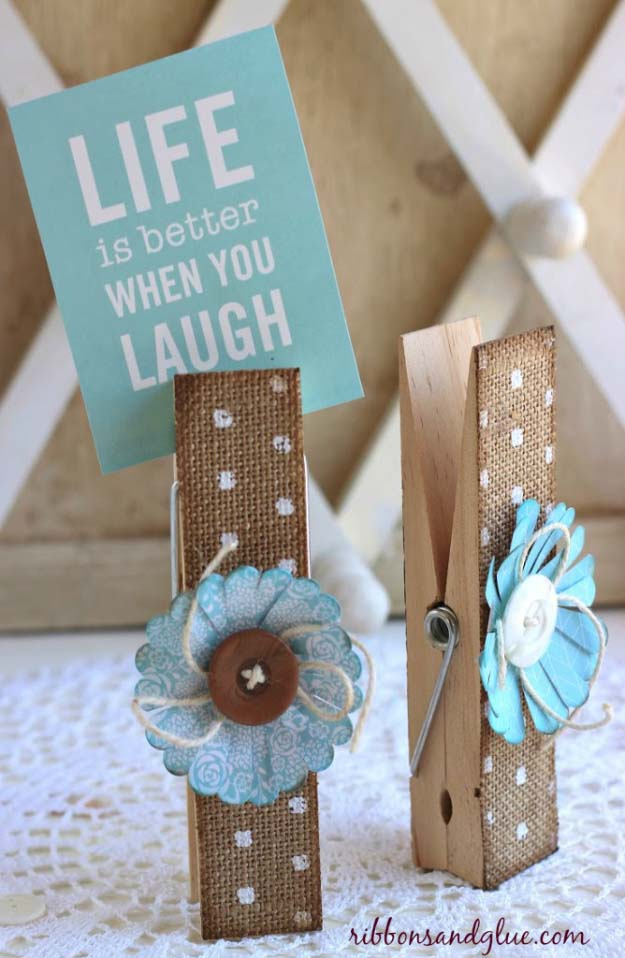 DIY Projects with Burlap and Creative Burlap Crafts for Home Decor, Gifts and More | Elegant Burlap Clothespins