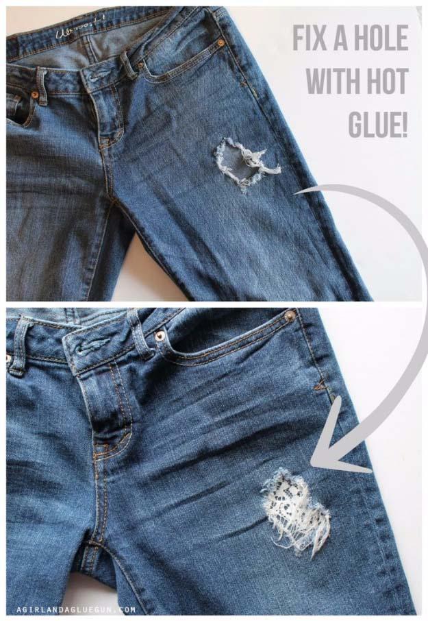 Glue Gun Crafts DIY | Best Hot Glue Gun Crafts, DIY Projects and Arts and Crafts Ideas Using Glue Gun Sticks | Fix a Hole in Your Pants with Hot Glue #diy #crafts #gluegun