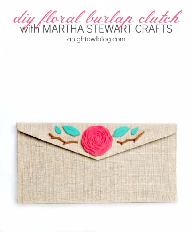 DIY Projects with Burlap and Creative Burlap Crafts for Home Decor, Gifts and More | Floral Burlap Clutch