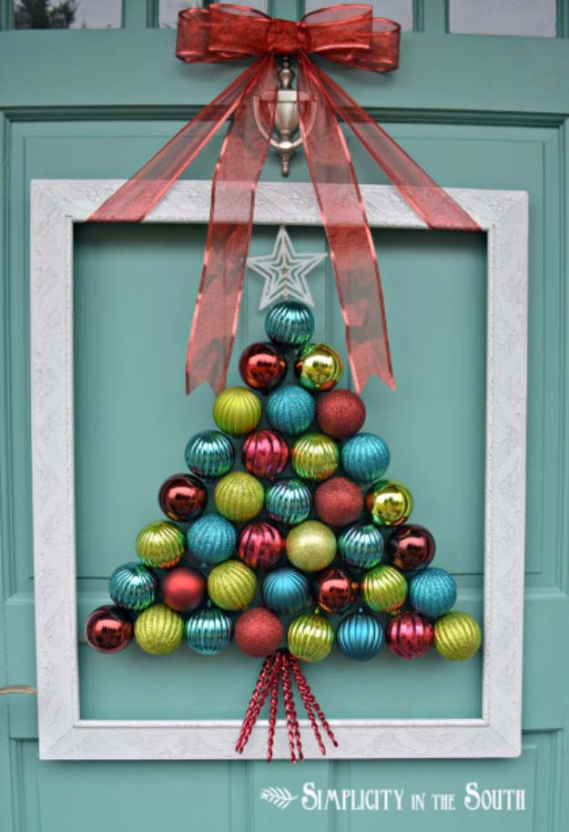 DIY Holiday Wreaths Make Awesome Homemade Christmas Decorations for Your Front Door | Cool Crafts and DIY Projects by DIY JOY | Framed Christmas Tree Ornament Wreath #diy