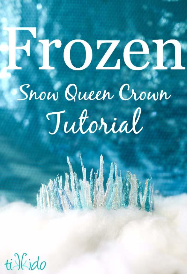 Glue Gun Crafts DIY | Best Hot Glue Gun Crafts, DIY Projects and Arts and Crafts Ideas Using Glue Gun Sticks | Frozen Snow Queen Crown #diy #crafts #gluegun