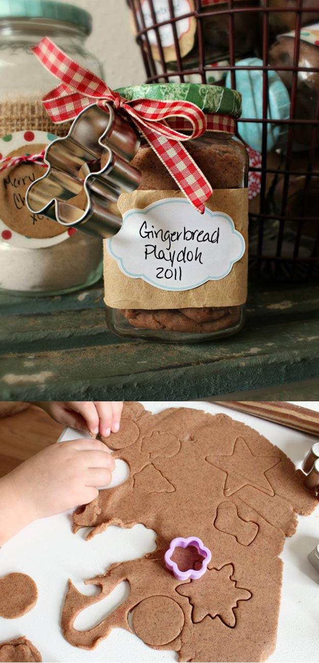 Homemade DIY Gifts in A Jar | Best Mason Jar Cookie Mixes and Recipes, Alcohol Mixers | Fun Gift Ideas for Men, Women, Teens, Kids, Teacher, Mom. Christmas, Holiday, Birthday and Easy Last Minute Gifts | Ginger Bread Play Doh Gift #diy