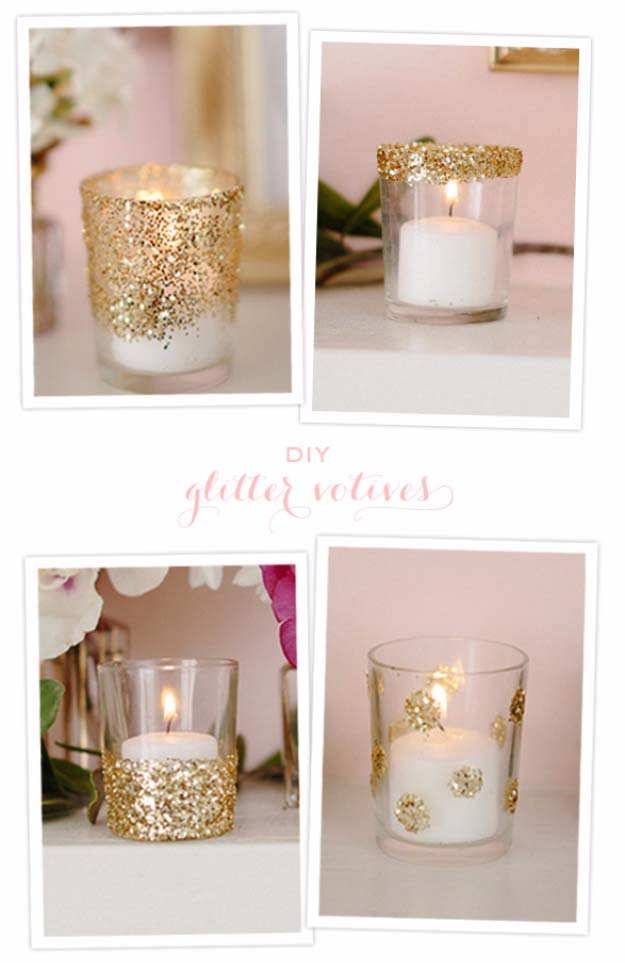 Awesome DIY Christmas Home Decorations and Homemade Holiday Decor Ideas - Quick and Easy Decorating ideas, cool ornaments, home decor crafts and fun Christmas stuff  | Crafts and DIY projects by DIY Joy  |  Glitter Votives  |  http://diyjoy.com/diy-christmas-decor-holiday-decorations