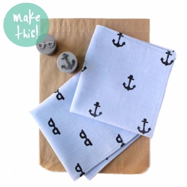 DIY Gifts For Men | Awesome Ideas for Your Boyfriend, Husband, Dad - Father , Brother Cool Homemade DIY Crafts Men Love to Receive for Christmas, Birthdays, Anniversaries and Valentine's Day | Hand Stamped Handkerchief for Dad #diygifts #diyideas #crafts