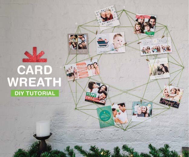 DIY Holiday Wreaths Make Awesome Homemade Christmas Decorations for Your Front Door | Cool Crafts and DIY Projects by DIY JOY | Holiday Photo Card Wreath #diy