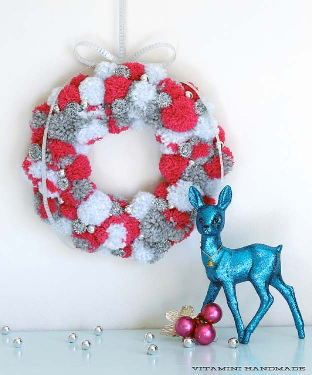 Cute DIY Holiday Wreaths Make Awesome Homemade Christmas Decorations for Your Front Door | Cool Crafts and DIY Projects by DIY JOY | Holiday Pom Pom Wreath