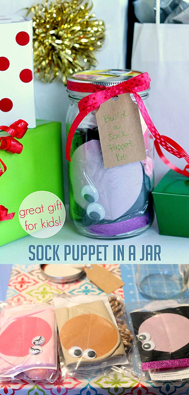 Homemade DIY Gifts in A Jar | Best Mason Jar Cookie Mixes and Recipes, Alcohol Mixers | Fun Gift Ideas for Men, Women, Teens, Kids, Teacher, Mom. Christmas, Holiday, Birthday and Easy Last Minute Gifts | Homemade Sock Puppet in a Jar Gift for Kids #diy