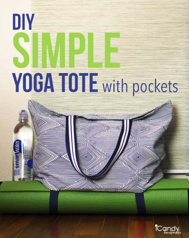 DIY Gifts for Your Girlfriend and Cool Homemade Gift Ideas for Her | Easy Creative DIY Projects and Tutorials for Christmas, Birthday and Anniversary Gifts for Mom, Sister, Aunt, Teacher or Friends |Homemade Yoga Mat Tote Bag with Pockets Makes a Perfect Homemade Present for Women Who Love Yoga #diygifts #diyideas
