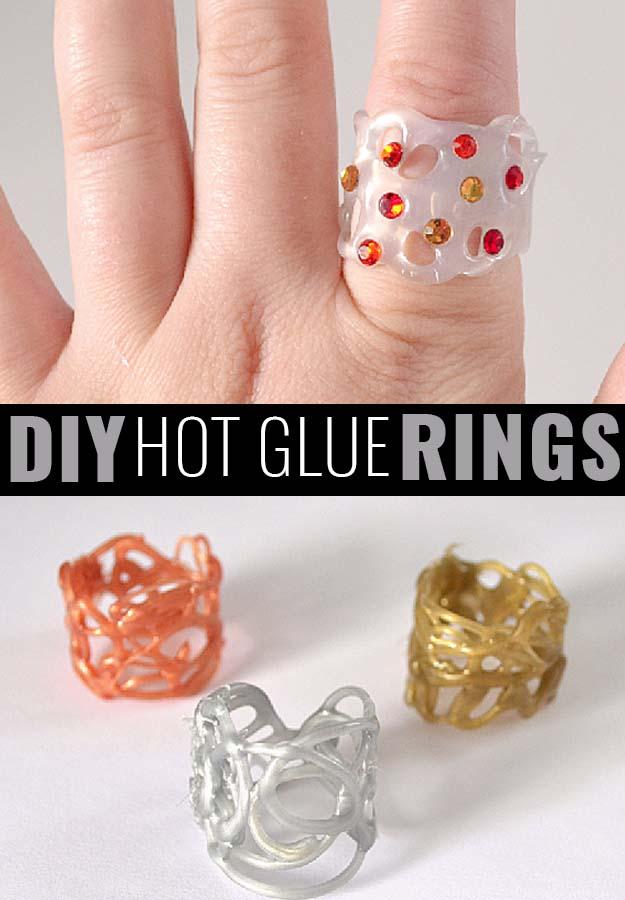 Fun Crafts To Do With A Hot Glue Gun | Best Hot Glue Gun Crafts, DIY Projects and Arts and Crafts Ideas Using Glue Gun Sticks | Hot Glue Rings | http://diyjoy.com/hot-glue-gun-crafts-ideas