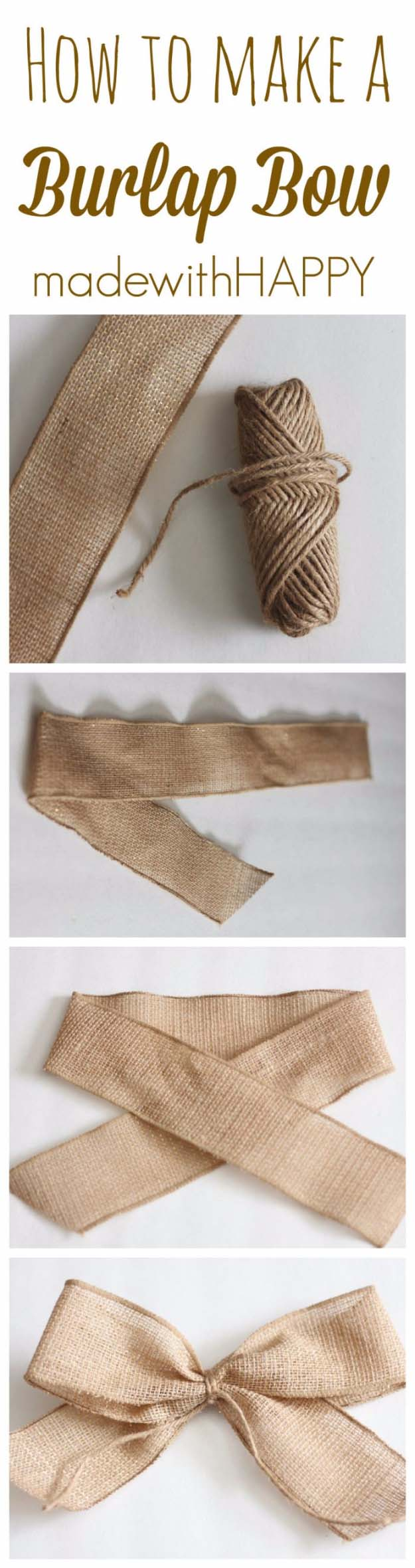 Awesome DIY Christmas Home Decorations and Homemade Holiday Decor Ideas - Quick and Easy Decorating ideas, cool ornaments, home decor crafts and fun Christmas stuff | Crafts and DIY projects by DIY Joy | How to Make a Fast Burlap Bow for Holiday Decorations #diy #crafts #christmas