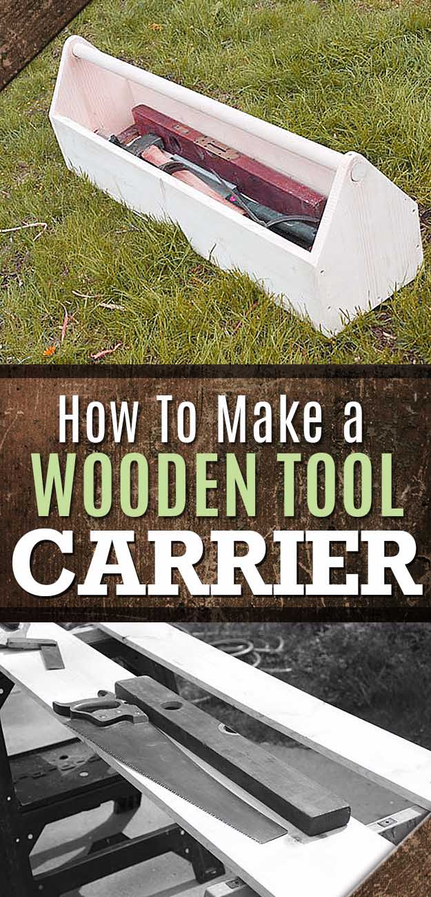 Awesome Crafts for Men and Manly DIY Project Ideas Guys Love - Fun Gifts, Manly Decor, Games and Gear. Tutorials for Creative Projects to Make This Weekend | How to Make a Wooden Tool Carrier #diy #craftsformen #guys #giftsformen