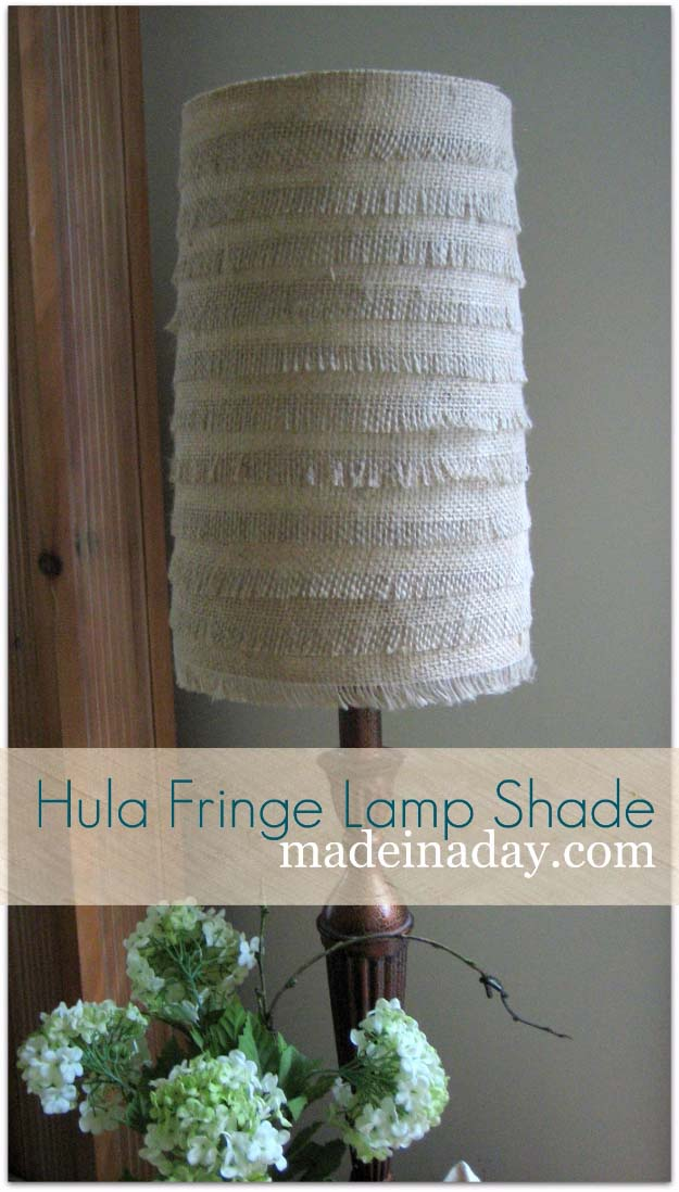 DIY Projects with Burlap and Creative Burlap Crafts for Home Decor, Gifts and More | Hula Fringe Flower Burlap Lamp Shade