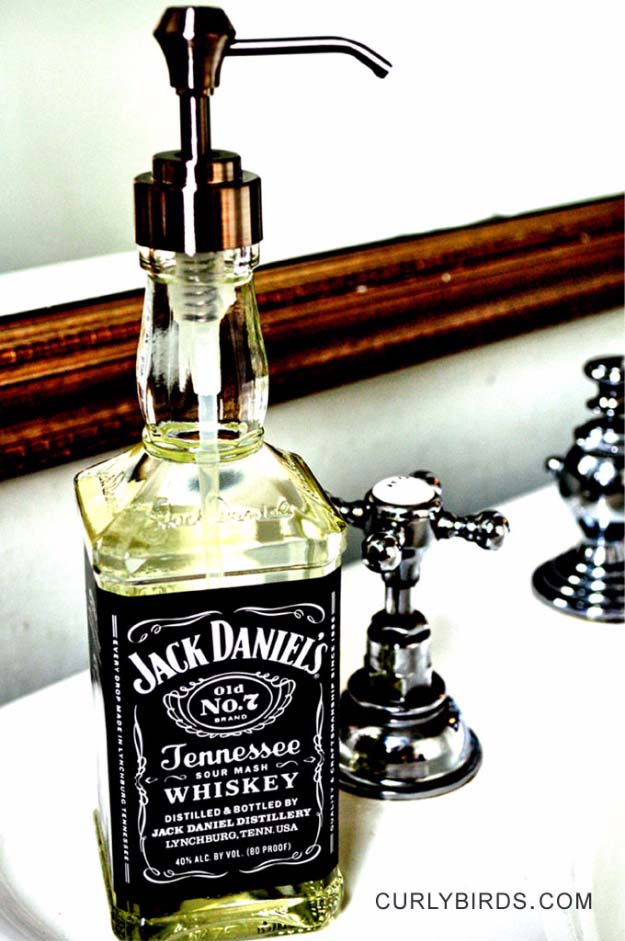 Fun DIY Ideas Made With Jack Daniels - Recipes, Projects and Crafts With The Bottle, Everything From Lamps and Decorations to Fudge and Cupcakes | Jack Daniels Soap Dispenser | http://diyjoy.com/diy-projects-jack-daniels