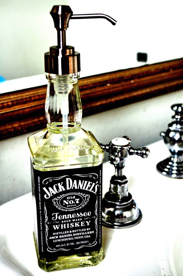 DIY Gifts For Men | Jack Daniels Soap or Hand Sanitizer Dispenser | Pinterest DIY Man Cave Decor Ideas Cheap | Awesome Christmas Gift Ideas for Your Boyfriend, Husband, Dad, Father, Brother