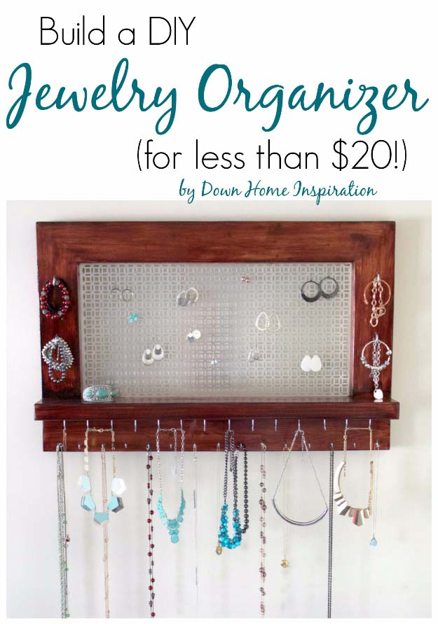 DIY Gifts for Your Girlfriend and Cool Homemade Gift Ideas for Her | Easy Creative DIY Projects and Tutorials for Christmas, Birthday and Anniversary Gifts for Mom, Sister, Aunt, Teacher or Friends | Homemade DIY Jewelry Organizer #diygifts #diyideas