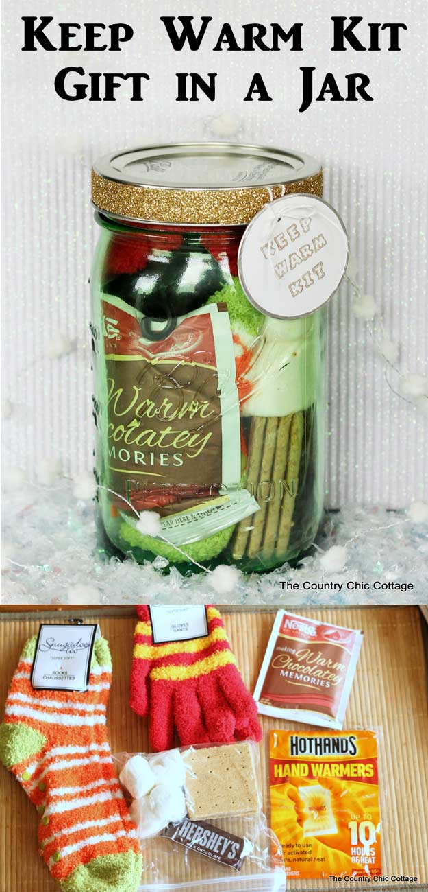 Homemade DIY Gifts in A Jar | Best Mason Jar Cookie Mixes and Recipes, Alcohol Mixers | Fun Gift Ideas for Men, Women, Teens, Kids, Teacher, Mom. Christmas, Holiday, Birthday and Easy Last Minute Gifts | Keep Warm Kit Gift in a Jar #diy