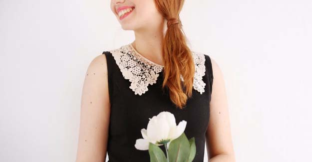 DIY Crafts You Can Make with Lace | Cool DIY Ideas for Fashion, Decor, Gifts, Jewelry and Home Accessories Made With Lace | Lace Collar Dress | http://diyjoy.com/diy-crafts-ideas-with-lace