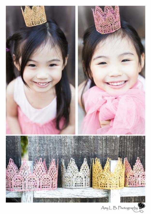 DIY Crafts You Can Make with Lace | Cool DIY Ideas for Fashion, Decor, Gifts, Jewelry and Home Accessories Made With Lace | Lace Crown for your Princess Party | http://diyjoy.com/diy-crafts-ideas-with-lace