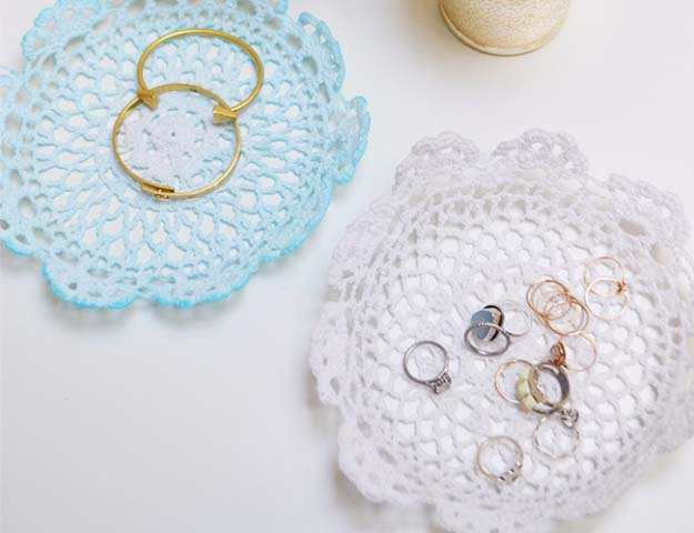 DIY Crafts You Can Make with Lace | Cool DIY Ideas for Fashion, Decor, Gifts, Jewelry and Home Accessories Made With Lace | Lace Doily Jewelry Holders | http://diyjoy.com/diy-crafts-ideas-with-lace