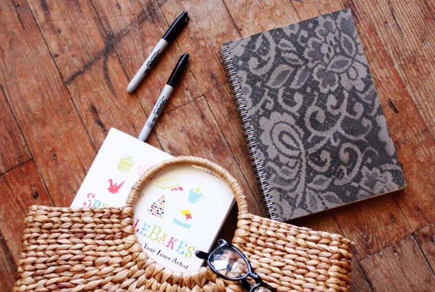 DIY Crafts You Can Make with Lace | Cool DIY Ideas for Fashion, Decor, Gifts, Jewelry and Home Accessories Made With Lace | Lace Patterned Notebook | http://diyjoy.com/diy-crafts-ideas-with-lace